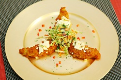 Buffalo Blue Tenders with a Celery Slaw