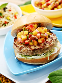 Caribbean Turkey Burger with Fruit Salsa