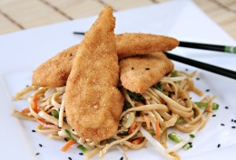 Chicken Tenders with an Asian Noodle Salad