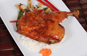 Chinese Five Spice Chicken over White Rice and Roasted Asian Vegetables