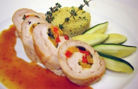Mediterranean Turkey Roulade with a Roasted Shallot Demi Glaze
