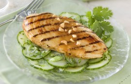 Grilled Peanut Chicken on Cucumber Salad