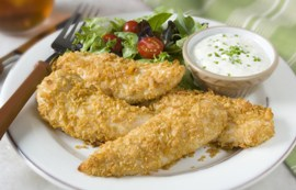 Oven Fried Chicken Strips with Spicy Dip