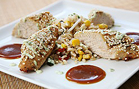 Sesame Crusted Turkey Filets