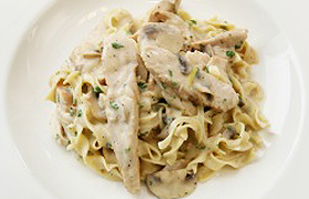 Chicken and Mushroom Stroganoff over Egg Noodles