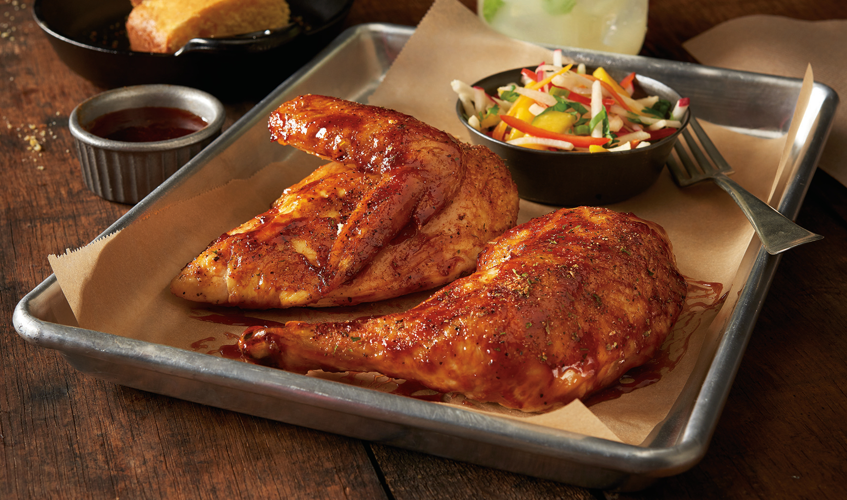 HARVESTLAND® TENDERREADY® Quartered Chicken Barbecued with Cornbread and Mango-Jicama Slaw